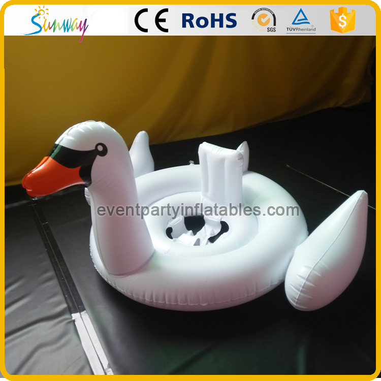 Cute design white inflatable swan pool float for baby kids water sports swimming seat ring