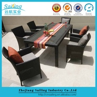 Indoor Dubai Restaurant Alum Frame Home Sets Rattan Dining Table And Chairs