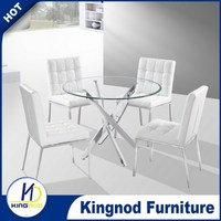 Space saving furniture round glass Japanese Dining Set