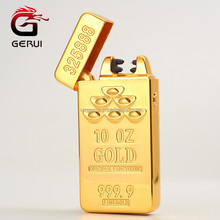 Classic Gold Bar Electric Pulse Dual Arc Lighter USB Charging Cigarette Lighter Men Business Gifts USB Lighters