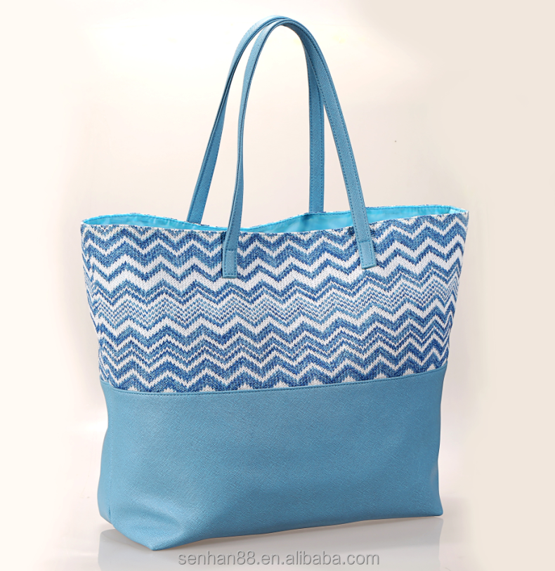 Fashion hot selling colorful straw beach tote bag for ladies