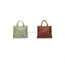 Latest Design Simple Metal Zip Genuine Leather Beige roll shopping Hand Tote Bag with Accessories