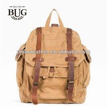 new arrival strong canvas back pack canvas bag with leather trimming hot sale backpack