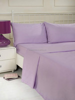 100% polyester microfiber plain dyed cheap bed sheet set bedding set lilac color