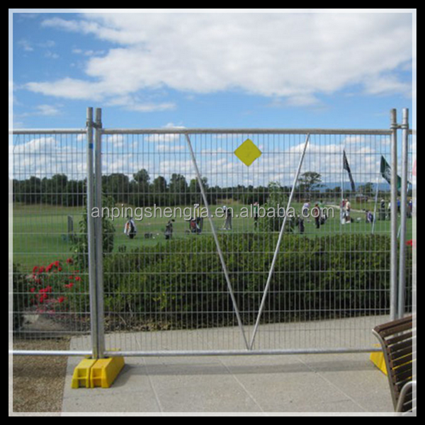 Power coated frame finishing and metal frame material temporary fence with brace
