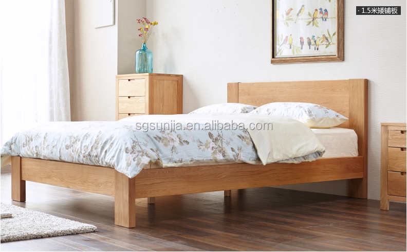 SJBED-1701S Natural Solid Wood, Pine Solid Wooden Simple style bed
