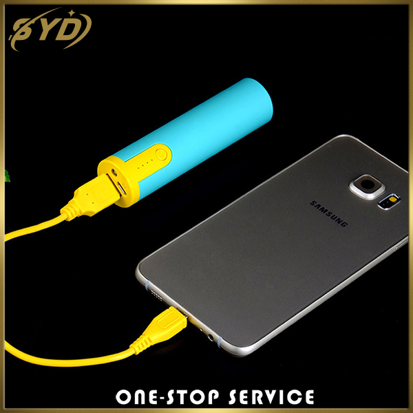 Factory direct sale 2600mah cylinder portable power bank with led light