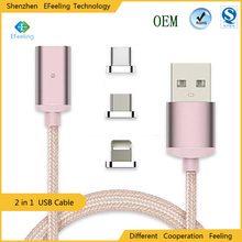 Wholesale Weave Charging Cable Magnetic 2 In 1 Adapter Charger For iPhone Android
