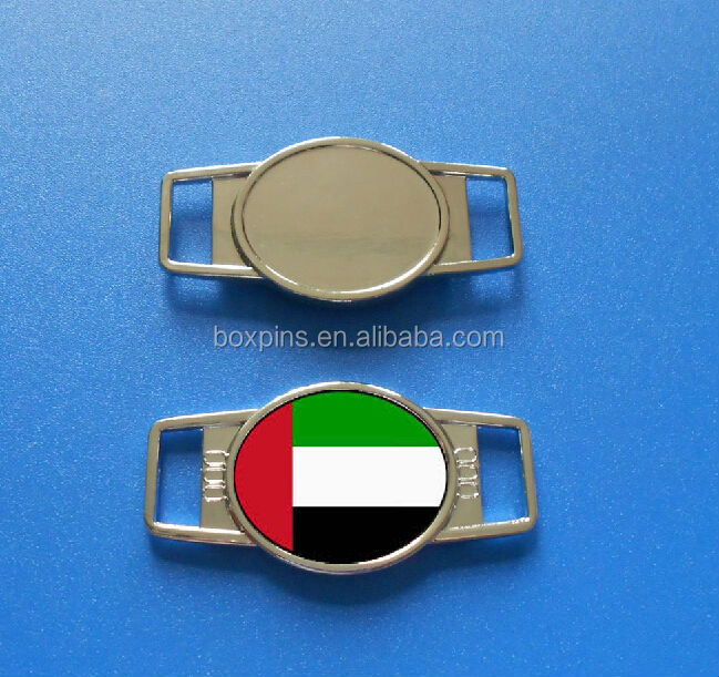 Existing mould!Oval shaped metal UAE shoelace charm shoe fastener for UAE