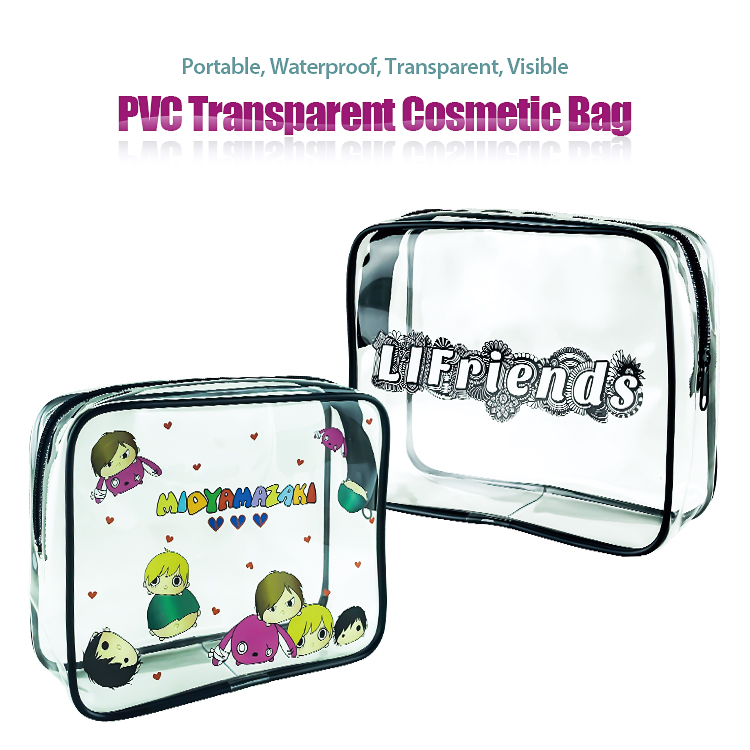 Amazon Hot BSCI Factory Custom Personalized Blank Women Travel Makeup Case Clear Waterproof PVC Cosmetic Bags