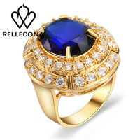 2016 18k yellow gold plated Big blue cz stone ring for men women