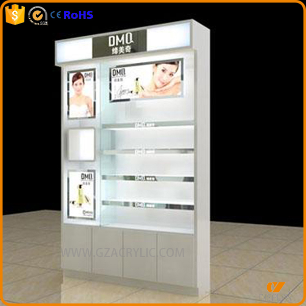customized white wooden lacquer painting finished cosmetic display unit stands with lights
