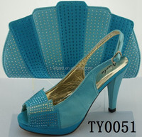 Unique design light blue women leather fashion high heels shoes and handbag set