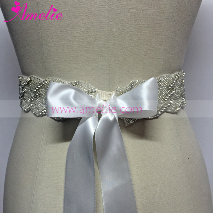 Long Rhinestone Trimming and Beads Sewed Wedding Bride Sash for Wedding Dress