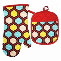 100% Cotton Silicone Printing with silk printing Kitchen Oven Mitten,Mit And Pot Holder set