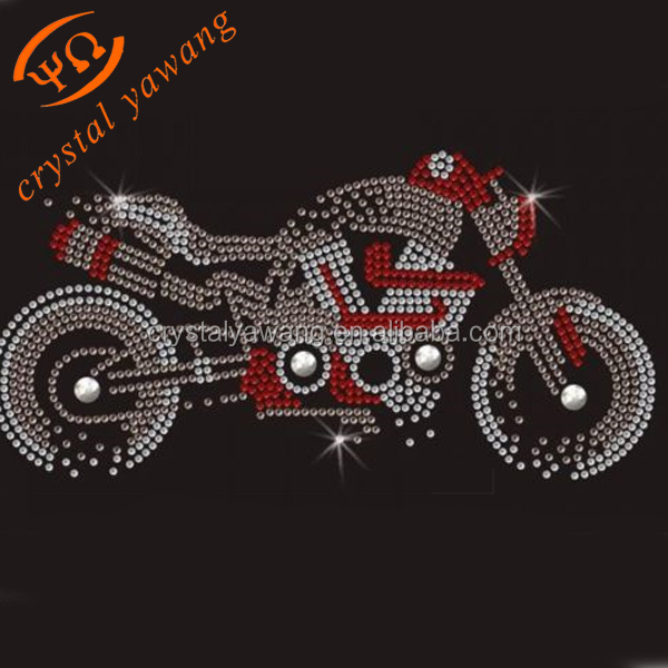 Cool Iron On Transfer Rhinestone Motorcycle Designs Hot Fix Motif For Garment