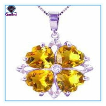 heart shaped citrine cubic zircon