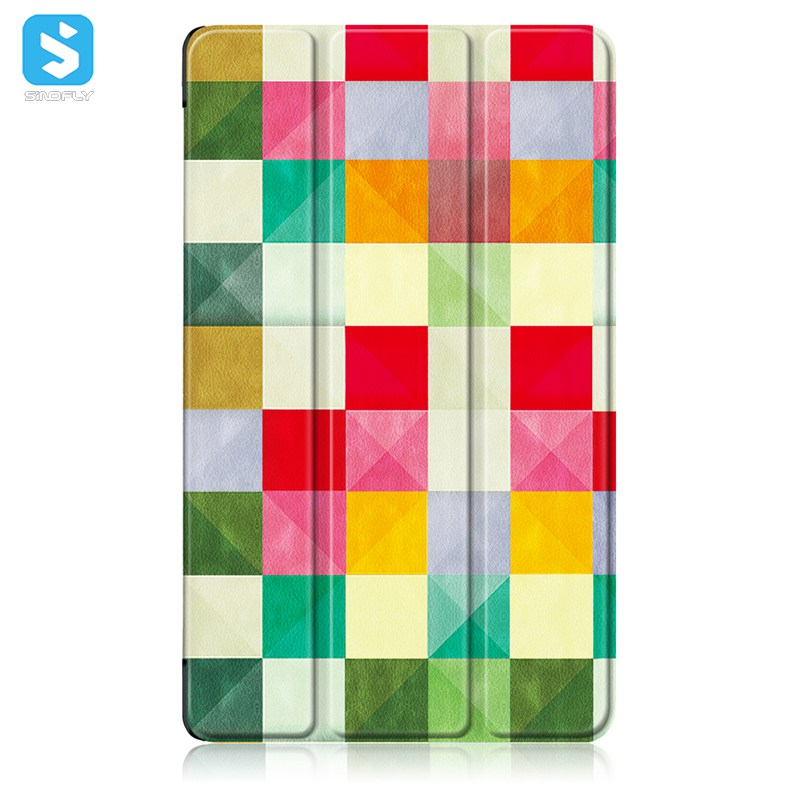 Printed Triple Folding PU Leather Case for Huawei Media pad M5 8.4