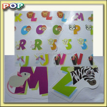 Pop 2015 alphabet gel sticker animal stickers material of paper PVC