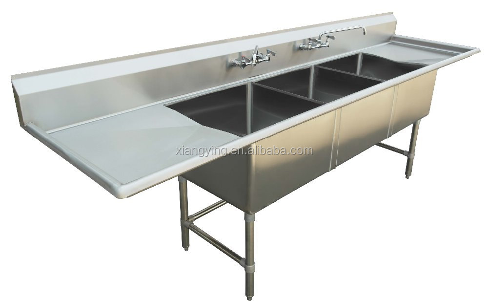 NSF and CSA approval two compartments stainless steel commercial kitchen sink / kitchen equipment