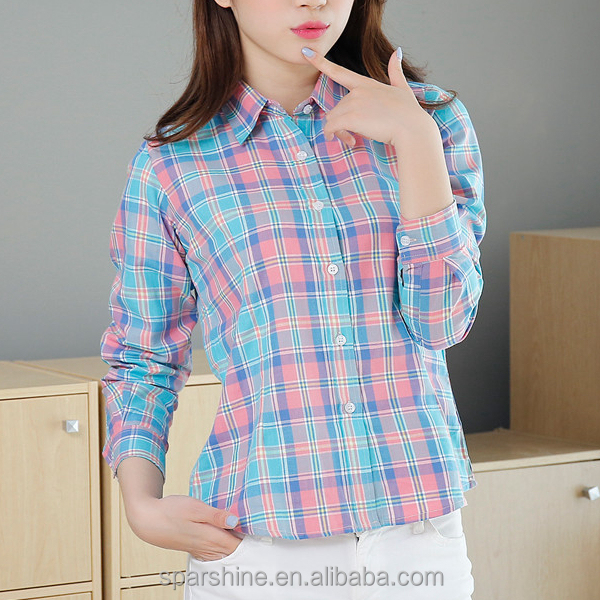 2016 Latest New Custom Women's Plaid 100% Cotton Blouse Flannel Shirt Plaid Women Blouse