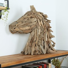 Large Driftwood Art Horse Head Sculpture for Tabletop Home Decor