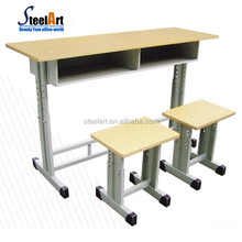 Hot selling student furniture double school desk and chair