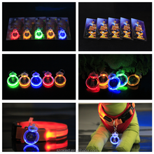Pet Dog Cat LED Flashing Collar Safety Night Light Pendant With Battery New VEC21 P