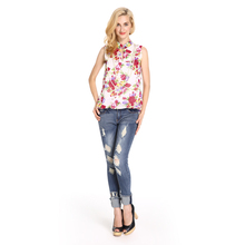 Floral Print Semi-open Collar Ladies Tops Latest Design,latest women tops