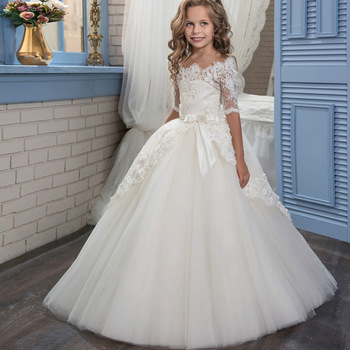 New Products China Suppliers Fashion Children Girl Plus Size White Lace Party Dress