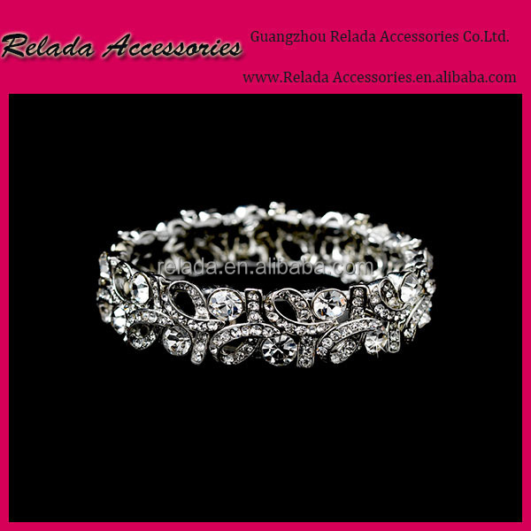 New products bridesmaid silver clear rhinestone beaded bracelets for sale