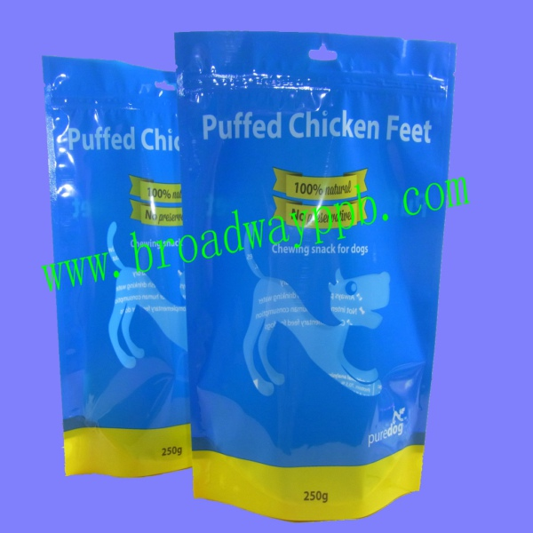 75g 250g puffed chicken feet plastic pet food stand up packaging bag