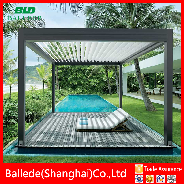 Automatically metal louvered roof pergola