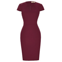 Grace Karin Ladies Dark Red Hips Wrapped Cap Sleeve Retro Vintage Pencil Bodycon Dress CL008947-6