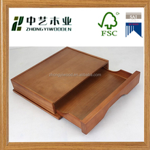 High quality FSC wood crafts cheap rustic wooden desk paper tray with draw