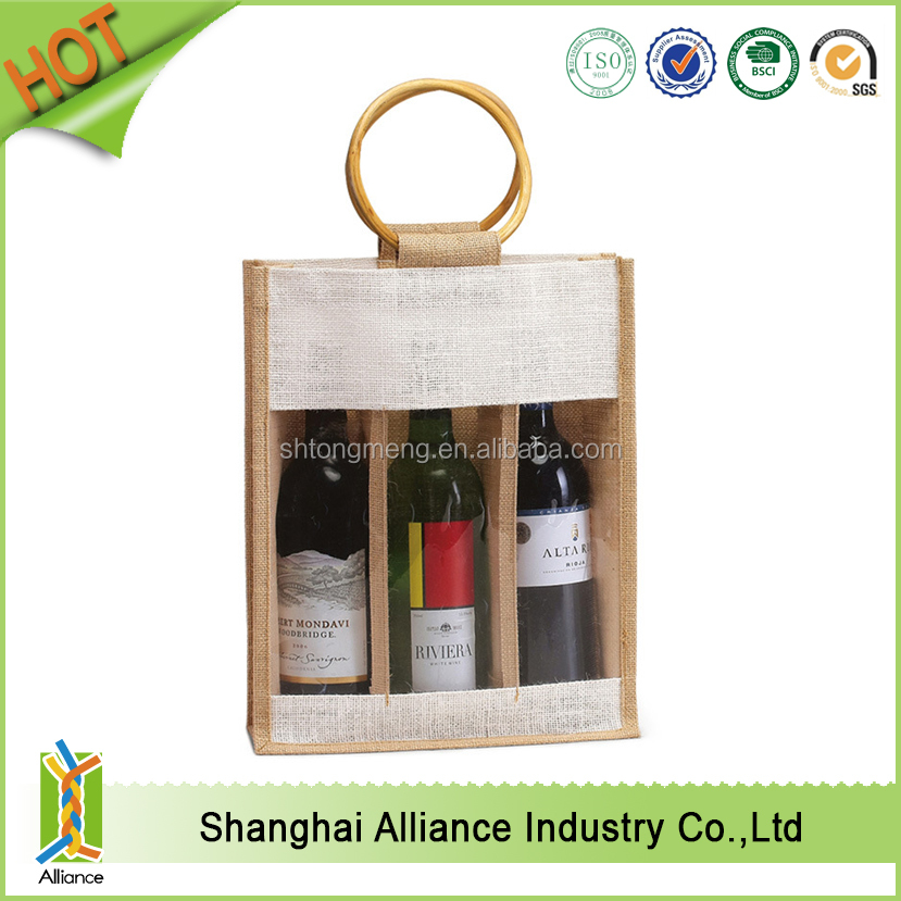 Jute wine bag/ 3 Bottle Wine Carry Bag Jute/ Eco-friendly Wine Tote