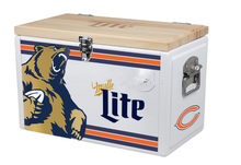 25L capacity metal cooler box with wooden lid and bottle opener