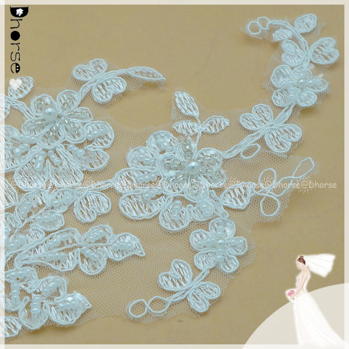 2016 China Manufacturer Bridal Motif Beaded Lace Applique /Flower Sequins Embroidery Lace Applique DHLF1699