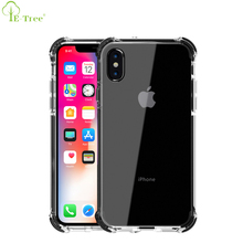 New Flexible TPE Shockproof Design Combo TPU Bumper Back Clear Phone Case For iPhone X