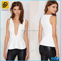 Wholesale Women Sexy Sleeveless Deep Plunge Low V Neck Tight Waist Tops