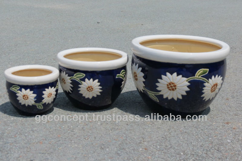 CP-13001-3A Set of 3 enamel color Sun Flower Pots/ enamel pots