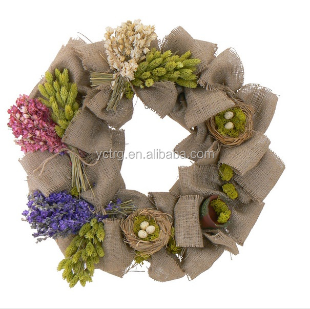 "16"" holiday spring burlap wreath/artificial wedding wreath"