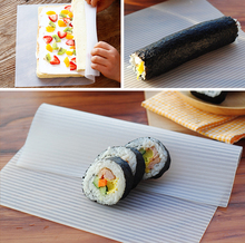 Sushi making tool milk white silicone wave mat for rice and vegetable rolling