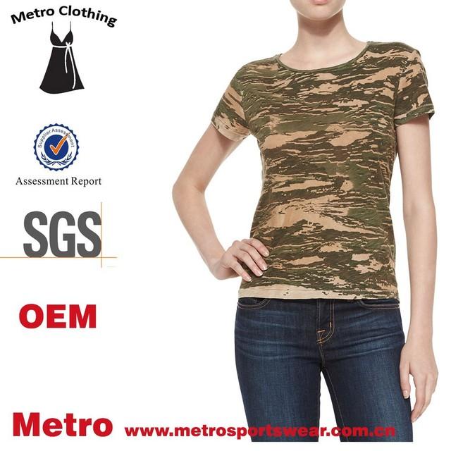Camo-print top custom women top short sleeve Trade Assurance