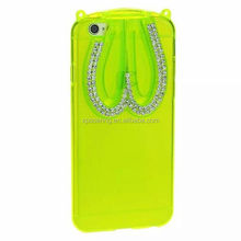 Rhinestone case back cover for iphone 6 tpu rabbit design, rabbit case with stand for iphone 6