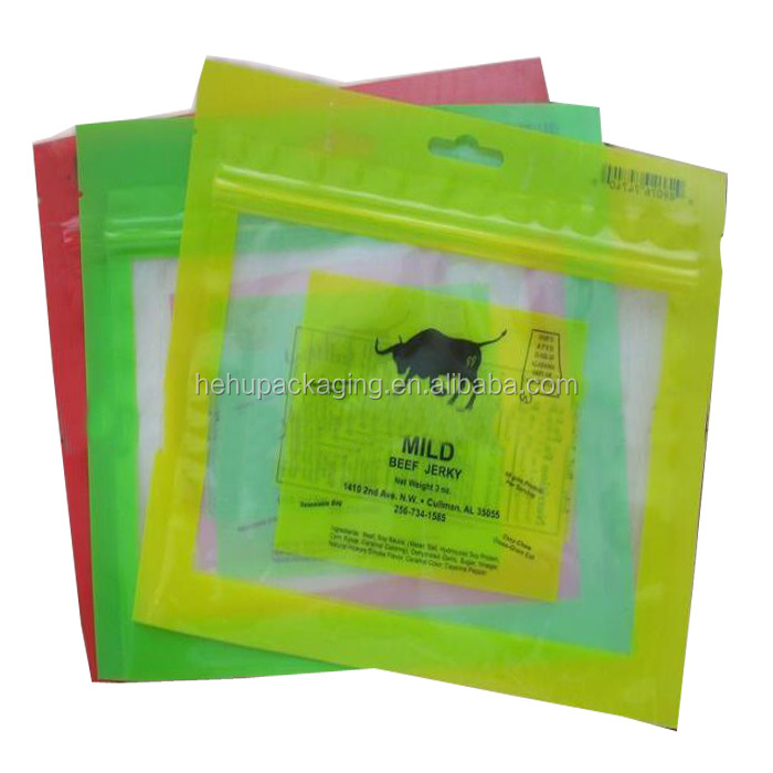 dry heat sterillization hanging hole jerky beef pouch
