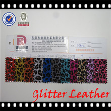 DS802 PVC Leather Material Cloth Twin Color Leopard Printed Glitter PVC Leather