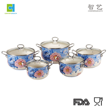 Full Flower Enamel non stick cookware Set with SS Handle