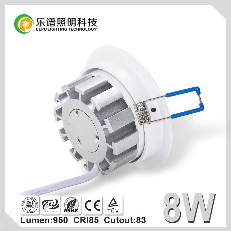 Luxury SAA TUV Cutout 83mm IP44 Sharp 3000k warm white led downlight 8w 2700K Viking with Reflector cup
