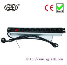 "19"" 1.5U German type PDU socket 8 way+13a plug socket+switch19 rack cabinet PDU rack PDU Power Distribution Unit"